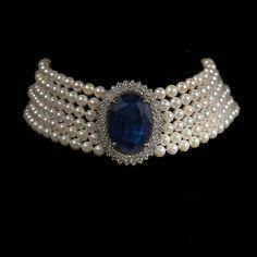 Jewelry OFF! High Jewelry Sapphire Diamond and Pearl Choker Indian Jewelry Sets, Royal Jewelry, Luxury Jewelry, Pearl Jewelry, Antique Jewelry, Beaded Jewelry, Fine Jewelry, Jewelry Necklaces, Pearl Necklace Designs