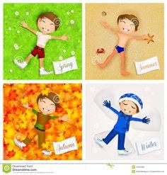 Slikovni rezultat za clip art four seasons Four Seasons, Spring Summer, Clip Art, Autumn, Winter, Fictional Characters, Activities, Drawings, Winter Time