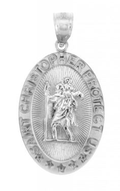 14k White Gold St Christopher Medal Catholic Charm Traveler Protection Pendant ** Read more at the image link.