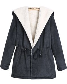 Grey Hooded Long Sleeve Drawstring Wool Coat S.R.249.63