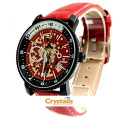 Goer Aviator Red Automatic Chronograph, Aviation, Red, Leather, Accessories, Air Ride, Aircraft, Ornament