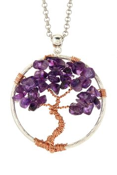 Rhodium plated rolo chain necklace with amethyst tree pendant