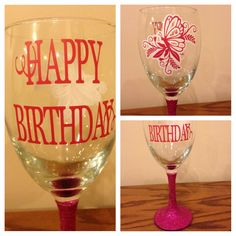 wine glass - glittered stem and vinyl on both sides - first time layering