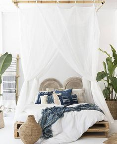 3 Delightful Tips AND Tricks: How To Make A Canopy Bed canopy cafe.Bedroom Canopy Small how to make a canopy bed. Tropical Bedroom Decor, Tropical Bedrooms, Bohemian Bedroom Decor, Coastal Bedrooms, Home Decor Bedroom, Tropical Decor, Bedroom Ideas, Bedroom Designs, Tropical Interior
