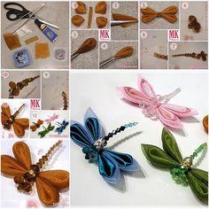 How to DIY Cute Kanzashi Ribbon Bead Dragonflies | www.FabArtDIY.com LIKE Us on Facebook ==> https://www.facebook.com/FabArtDIY