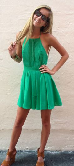 Savannah Lady Dress. Bright green dress but not neon. Cute pleat details. Oh summer and sundresses!!