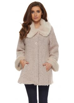 J&L Paris Pink & Beige Short Swing Coat With Faux Fur Collar & Cuffs