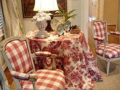 Country French, Red And White, Living Room, Cote De Texas, French Country… French Country Bedrooms, French Country Living Room, French Country Cottage, French Country Style, Red Cottage, French Country Curtains, Cottage Art, Cottage Design, French Decor