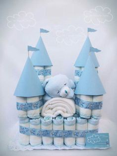 Baby towels and wash rags castle. Can be done in any color.