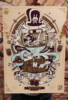 DXTR x Nychos: Drink 'n' Draw 4-Color Screen Print Size: 42 x 59 cm Run: 50 Year: 2012 Every print is signed and numbered by the artists.