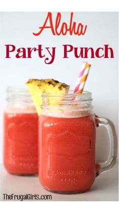 Aloha Party Punch Recipe - 46oz pineapple juice, 7 cups fruit punch, 1 liter ginger ale, approx 48oz orange sherbet