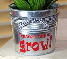 This would be SOOOO easy!!!  These stickers can be cut within a day, and they'll cost no more than $10 each.  You can get the pots for $1 and plants are cheap right now.