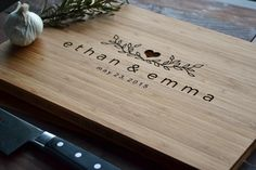 Personalized Cutting Board Engraved Bamboo Wood  for wedding, anniversary gift by Twistedbranchdesigns on Etsy https://www.etsy.com/listing/223347367/personalized-cutting-board-engraved