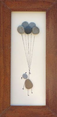 """Beach Pebble Art Stone Pictures """"Up, Up and Away"""" --rock art on Etsy Stone Crafts, Rock Crafts, Diy And Crafts, Arts And Crafts, Caillou Roche, Art Pierre, Pebble Pictures, Beach Pictures, Surfing Pictures"""