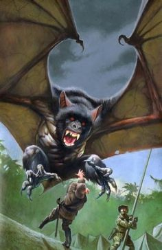 Orang-bati is an Indonesian legend that kidnaps children. It is rumored to be a monkey with the wings of a bat and the talons of a hawk.
