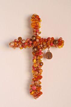 Beaded Cross  Imperial Jasper Shell on Copper by crossesintherocks