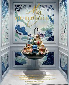 """Bei der Warenhauskette """"Printemps"""" in Paris ist man schon total im Weihnachtsfieber. Sämtliche Schaufenster wurden mit der Hilfe des französischen Illustrators Tom Haugomat künstlerisch auf Weihnachten abgestimmt. Er fertigte dazu die Hintergründe als Illu"""