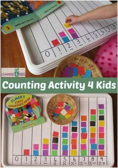to Count Activity Elmer's First Counting Book by David McKee is a fabulous book to introduce counting to young children and toddlers.Elmer's First Counting Book by David McKee is a fabulous book to introduce counting to young children and toddlers. Preschool Learning, Kindergarten Math, Teaching Math, Toddler Activities, Preschool Activities, Activities With 3 Year Olds, Cookie Sheet Activities, Kindergarten Special Education, Indoor Activities