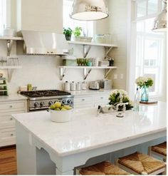 Shelves instead of Kitchen Cabinets- absolutely fabulous! I need this kitchen in my life!