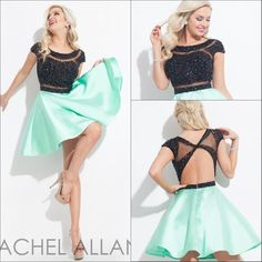 A wide selection of maxi dresses,2015 dresses and sexy homecoming dress are at a discount and weddingdressesonline recommends  Rachel Allan Green Short Homecoming Dresses 2016 Shining Sequined Scoop Neckline Knee Length A-line Backless Formal Cocktail Party Dress Hot greatly.