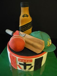 Fabulous, make it child friendly by removing the scotch. Make it Kohan friendly by changing St Kilda to Carlton. Cricket Cake, Sport Cakes, Cakes For Men, Creative Cakes, Themed Cakes, Amazing Cakes, Cake Toppers, Cake Decorating, Birthdays