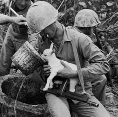 This rips my heart.  The baby (goat?) is balancing on the soldier's gun as the man tenderly cradles it so it can drink.