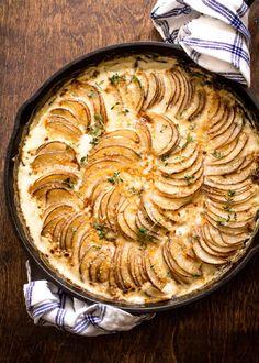 Creamy Au Gratin Potatoes with Kale and Gruyere | InquiringChef.com Scalloped Potato Recipes, Easy Potato Recipes, Easy Casserole Recipes, Potluck Recipes, Breakfast Recipes, Potatoes Au Gratin, Cheesy Potatoes, Side Dishes Easy, Side Dish Recipes