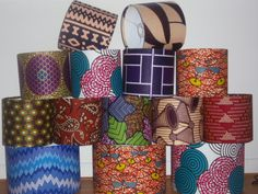 Aint they just perfectly made by hand in Britain ..... Mixed stack of Small & Medium Drum African Wax Print Lampshades