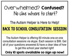 Online Consultation {Back to School Special} by theautismhelper.com