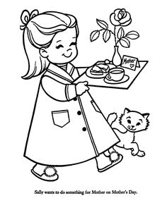 Breakfast in Bed for Mom - Mothers Day Coloring Pages