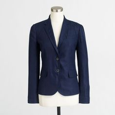 J.Crew Factory Keating boy blazer in linen ($83) ❤ liked on Polyvore featuring outerwear, jackets, blazers, linen blazer, one-button blazer, blue blazer jacket, j crew jacket and button jacket