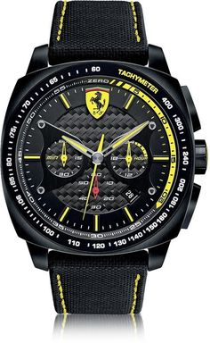 d27b15f1fe3 Ferrari Aero Evo Chronograph Black and Yellow Stainless Steel Case and  Nylon Strap Men s Watch