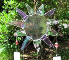 Pink & Purple Star burst fused glass wind chimes by ColleenGail, $65.00