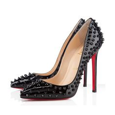 Christian Louboutin ALL Black Sparkle Spikes Pump Red Sole