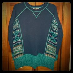 Ruby Moon Navy & Teal Nordic Sweatshirt!! Ruby Moon Navy & Teal Nordic Sweatshirt!!  Cute and cozy!  Sweatshirt top with sweater side panels and hem details!!  Worn only once for a few hours.  Similar to some I've seen by Free People!  Size small - oversized fit - could work for xs - medium depending on preferences. Ruby Moon Sweaters Crew & Scoop Necks