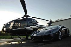 Private Helicopter and Lamborghini