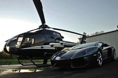 A Private Helicopter and Lamborghini