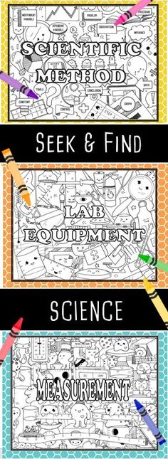 Seek & Find Science is perfect for introducing or reinforcing unit material for the scientific method lab equipment and measurement. I love them for notebook title pages! Great for pre-assessment group collaboration and reinforcement. Science Lessons, Science Experiments, Science Ideas, Science Fun, Science Classroom, Teaching Science, Teaching Resources, Classroom Ideas, 8th Grade Science