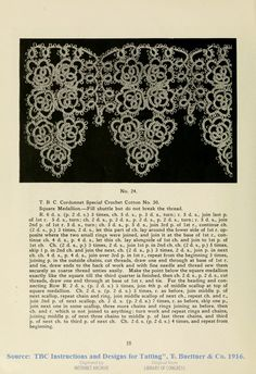shuttle tat instructions for square medallion, TBC thread, 1916.  Photo is roses.  Look up source