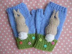 Quick to knit fingerless mittens in four sizes, featuring 3D bunnies with pompom tails.The mitts are knitted in Stocking stitch with single rib cuffs