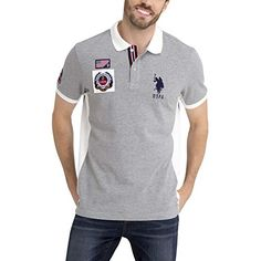 9dd9dced2 Check U.S. Polo Assn. Mens USA Solid Pique Polo Shirt with Big Pony and  Patches