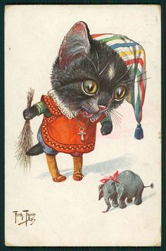 Art Arthur Thiele Dressed Cat Big Head Flogger Elephant Old 1910s Postcard   eBay
