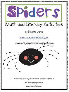 Spider Fun!  #Kindergarten and #First Grade Math and Literacy Activities