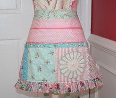 Pink/Aqua Vintage Fabrics Craft Apron