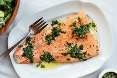 Alice Waters Butter Herb Salmon via GoodEggs Butter Salmon, Herb Butter, Sugar Free Recipes, Baked Salmon, I Foods, Free Food, Cravings, Main Dishes, Seafood