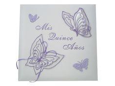 "Mis Quince Anos Centerpieces | ... Satin ""Mis Quince Anos"" Butterfly Design Photo Album - Creative15.com"