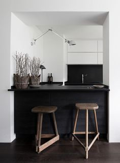 #kitchen design #dark cabinets #barstools - Isabella Magnani portfolio - Engadin Swiss