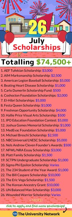 Here is a selected list of July 2018 Scholarships.
