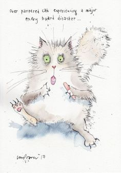 Buy Over pampered Cat - watercolor and ink, Ink drawing by Luci Power on Artfinder. Discover thousands of other original paintings, prints, sculptures and photography from independent artists.