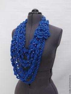 Crochet scarf | Купить Шарф бусы Королевский синий цветок Объемный Вязаный Крючком - вязаный крючком шарф